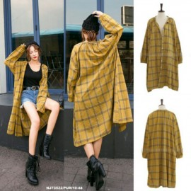 image of NJ Europe Fashion Checker Stylish Long Jacket Brown