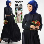 image of READY STOCK ❗ NJ SEOUL 3 IN 1 Mandarin Collar Front Button Flare Jubah Dress (Navy Blue)