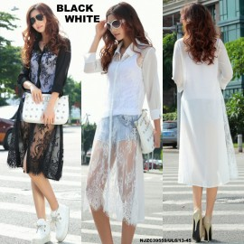 image of NJ Europe Fashion High Quality Lace Design Long Button Shirt