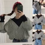 NJ Europe Fashion Drop Shoulder Stripe Collared Shirt with High Collar Inner Shirt