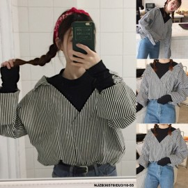 image of NJ Europe Fashion Drop Shoulder Stripe Collared Shirt with High Collar Inner Shirt