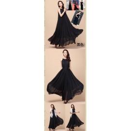 image of READY STOCK ‼️ Chiffon Flare Dress with BELT