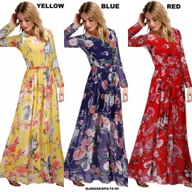 image of NJ Europe Fashion Floral Printed Long Dress with Inner Lining