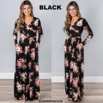 NJ Europe Fashion Elegant Floral Maxi Dress (Black)