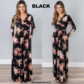 image of NJ Europe Fashion Elegant Floral Maxi Dress (Black)