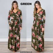 image of NJ Europe Fashion Elegant Floral Maxi Dress (Green)