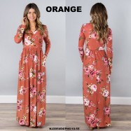 image of NJ Europe Fashion Elegant Floral Maxi Dress (Orange)