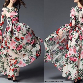image of NJ Europe Fashion Flower Printed Beautiful Dress with Belt