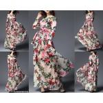 NJ Europe Fashion Flower Printed Beautiful Dress with Belt