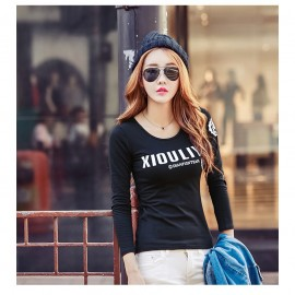 image of NJ Fashion Trendy Long Sleeves Top BLACK
