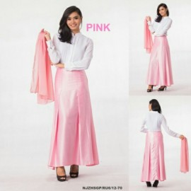 image of NJ 3 IN 1 Front Button Blouse+Flared Satin Long Skirt +Shawl (PINK)