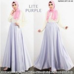NJ Fashion 3 IN 1 Elegant Batwing Style Top with Satin Flare Skirt (Inc Shawl)