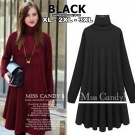 image of NJ Plus Size Europe Fashion Turtle Neck Dress (Black)