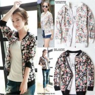 image of Flower Printed Jacket (WHITE)