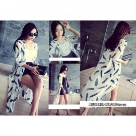 image of NJ Stylish Printed Chiffon Long Cardigan