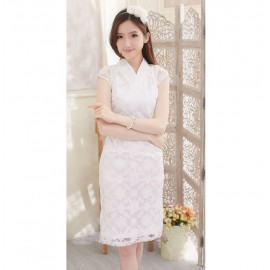 image of NJ Fashion Traditional Cheong Sam - WHITE