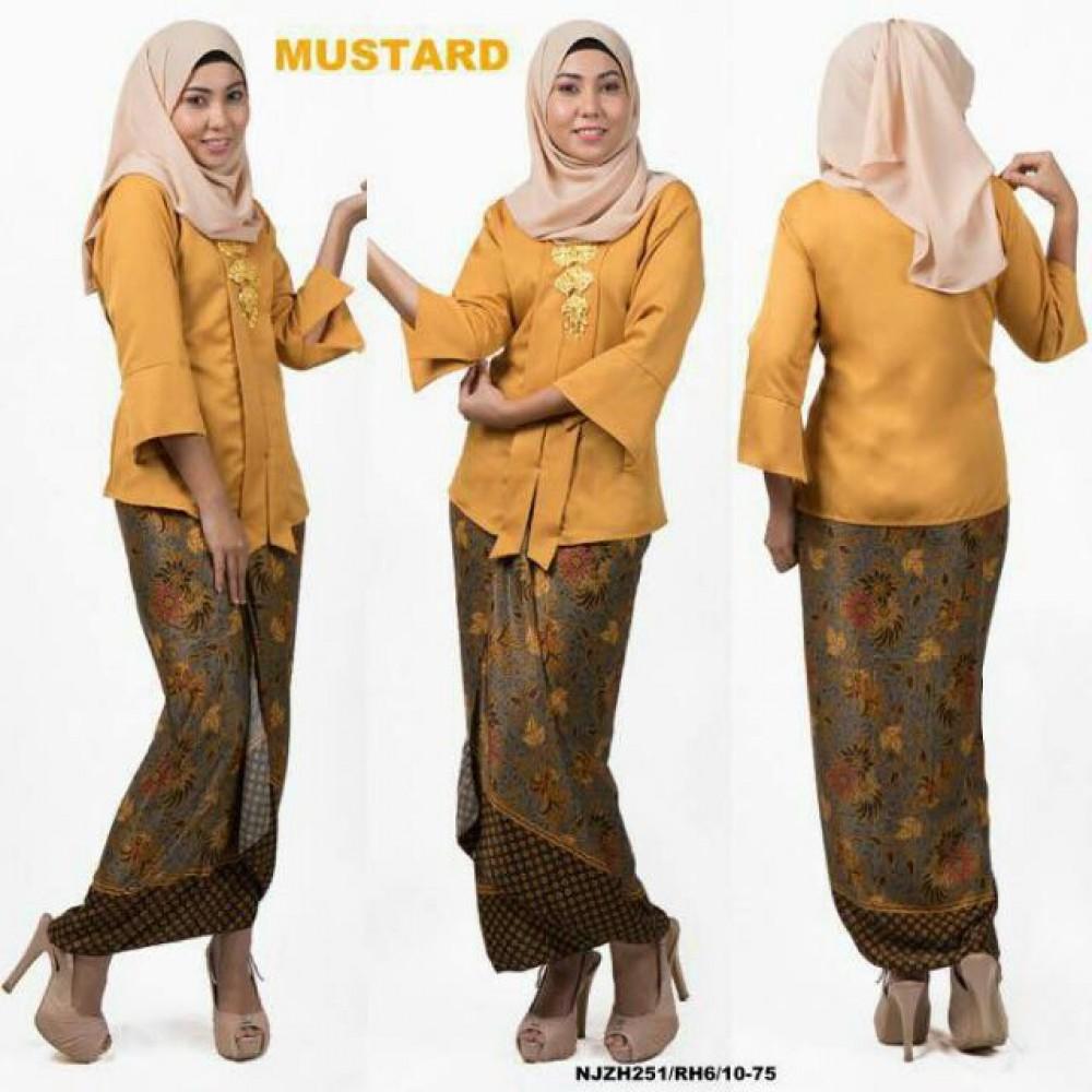 READY STOCK NJ Fashion Traditional kebaya with Self Tied Printed Sarong (Mustard)