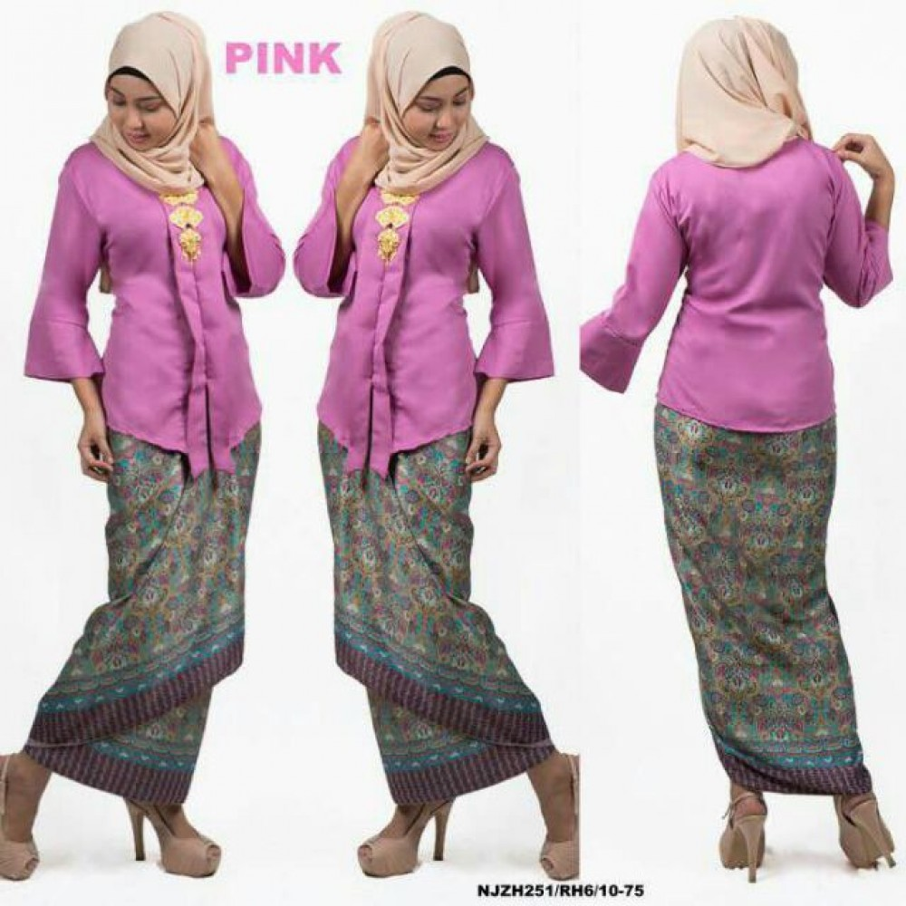 READY STOCK NJ Fashion Traditional kebaya with Self Tied Printed Sarong (PINK)