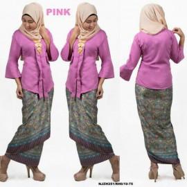 image of READY STOCK NJ Fashion Traditional kebaya with Self Tied Printed Sarong (PINK)