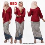 READY STOCK NJ Fashion Traditional kebaya with Self Tied Printed Sarong (RED)