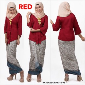 image of READY STOCK NJ Fashion Traditional kebaya with Self Tied Printed Sarong (RED)