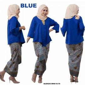 image of READY STOCK NJ Fashion Traditional kebaya with Self Tied Printed Sarong (BLUE size M)