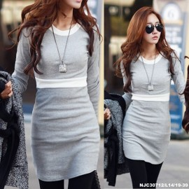 image of OFF NJ Fashion Trendy Duo Tone Dress