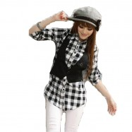 image of Korea NJ Elegant Checker OL Top with Vest