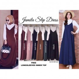image of NJ Fashion Hot Selling Trendy Slit Dress (FREE White Long Sleeves Inner Top)
