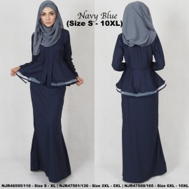 image of READYSTOCK NJBoutique.RTW Exclusive Baju Kebaya Collections - NAVYBLUE