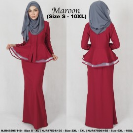 image of READYSTOCK NJBoutique.RTW Exclusive Baju Kebaya Collections - MAROON