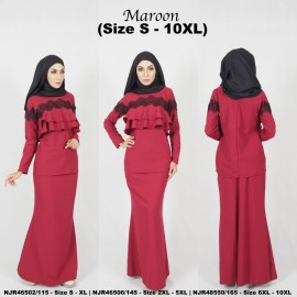 image of READYSTOCK NJBoutique.RTW Exclusive Baju Kurung Collections - MAROON