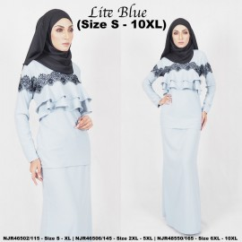 image of READYSTOCK NJBoutique.RTW Exclusive Baju Kurung Collections - LITE BLUE