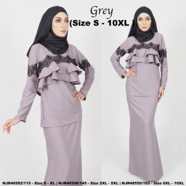 image of READYSTOCK NJBoutique.RTW Exclusive Baju Kurung Collections - GREY