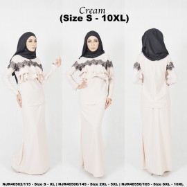 image of READYSTOCK NJBoutique.RTW Exclusive Baju Kurung Collections - CREAM