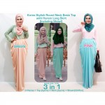 CLEARANCE SALE 3 IN 1 Stylish Round Neck Basic Top with Harem Long Skirt