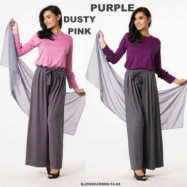 image of NJ 3 IN 1 Stylish Ruffles Sleeves Top With Adjustable Belt Palazo Pants + Shawl