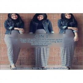 image of NJ (4 Pieces = Jacket + Tank Top + Skirt + Shawl (Chiffon)