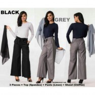 image of NJ 3 IN 1 Stretchable Long Sleeve Top + Flared Wide Leg Knotted Belt Pants+Shawl
