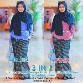 image of NJ SEOUL 3 IN 1 Denim Design Basic Top with Polka Dots Skirt (Including Shawl)