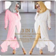image of NJ SEOUL 3 IN 1 Slit Design Long Top with Pants (Including Shawl)