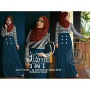 image of NJ 3 IN 1Stripe Long Sleeves Top +DoubleButton Skirt +Shawl