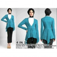 image of NJ 4 IN 1(4 Pieces = Cardigan + Top + Pants + Shawl (Cotton)