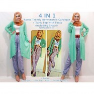 image of NJ 4 IN 1Cardigan + Tank Top with Pants (Including Shawl)