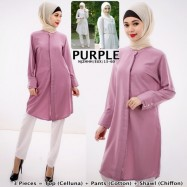 image of NJ Hijaber Set - Button Blouse with Long Pants