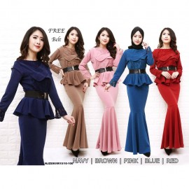 image of Korea NJ ExclusiveCollections Elegant Peplum Dress with FREE Black Bow Belt