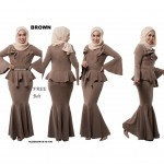 NJ ExclusiveCollections Elegant Peplum Dress with FREE Pearl Stylized BeltD