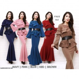 image of NJ ExclusiveCollections Elegant Peplum Dress with FREE Waist Leather Belt