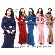 image of NJ ExclusiveCollections Elegant Peplum Dress with FREE Ornament Detail Belt