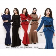 image of NJ ExclusiveCollections Elegant Peplum Dress with FREE Double Bow Beltt